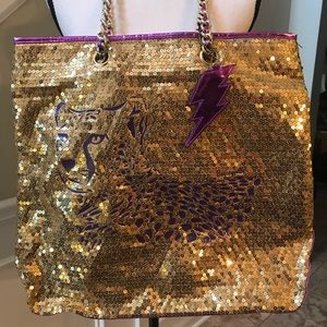 Vintage Betseyville Cheetah Sequins Tote Bag